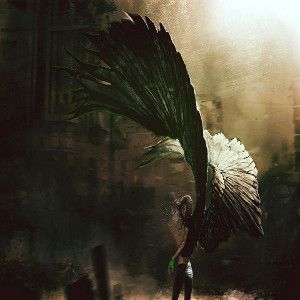Image of a young female archangel with huge wings facing to the left for a hip hop rap beat titled dreamscape