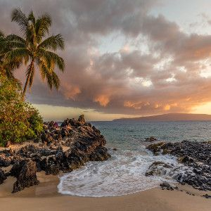 Image of serene tropical island sunset at a rocky shore with a small inlet and a palm tree in view for a hip hop rap beat titled all good