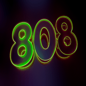 80's styled image of 808 numbers in green for hip hop rap trap beat titled drunken 808's