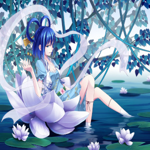 Anime image of a girl sitting in a large lotus flower floating on water beneath tree leaves a for hip hop rap beat titled mountain lotus