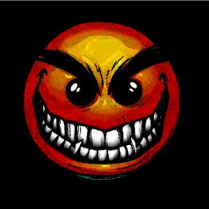 image of an emoji with a sinister grin and crazy eyes for a hip hop rap beat titled bonkers